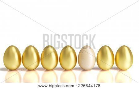different golden easter eggs 3d rendering image