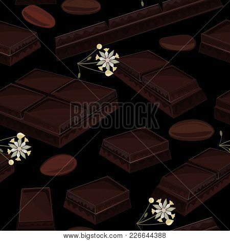 Elegant Seamless Background With Pieces Of Black Chocolate Bars, Cocoa Flowers, And Cocoa Beans. Vec