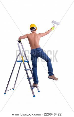 Young Male Decorator Painting With A Paint Roller Climbed A Ladder Isolated On White Background.