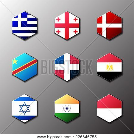 Hexagon Icon Set. Flags Of The World With Official Rgb Coloring And Detailed Emblems In Vector. Grec