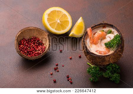 Tasty Shrimp Soup With Coconut Milk, Kaffir Lime Leaves, Galangal, Chilli And Lemon Grass And Mushro