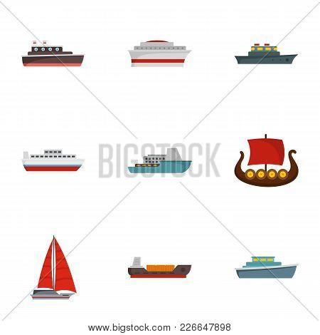 Boat Icons Set. Flat Set Of 9 Boat Icons For Web Isolated On White Background