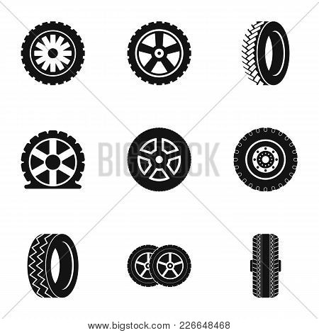 Wheel Icons Set. Simple Set Of 9 Wheel Vector Icons For Web Isolated On White Background