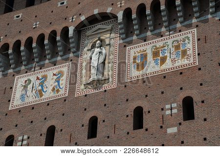 Milan, Italy / Milan, 05/08/2015: Sforza Castle Is In Milan, Northern Italy. It Was Built In The 15t