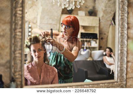 At the hair saloon