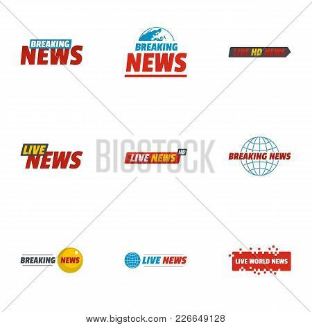 News Icons Set. Flat Set Of 9 News Vector Icons For Web Isolated On White Background