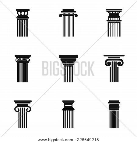 Column Icons Set. Simple Set Of 9 Column Vector Icons For Web Isolated On White Background