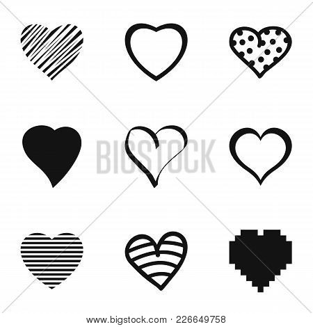 Heart Icons Set. Simple Set Of 9 Heart Vector Icons For Web Isolated On White Background