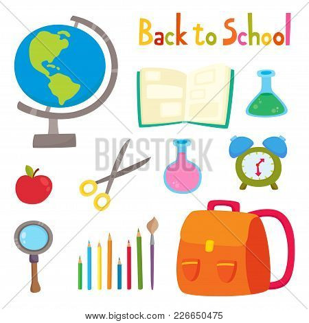 Back To School Set With School Supplies Isolated On White. Vector Illustration With Backpack, Pencil