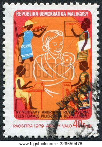 Madagascar - Circa 1979: Postage Stamps Printed In Madagascar, Is Depicted Women, Supporters Of The