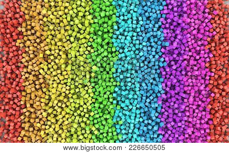 Rainbow Colored Cubes Scattered on the Floor. Colorful Spectrum Background. 3D Illustration.