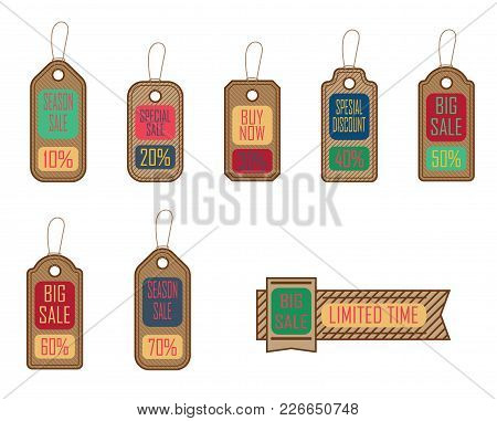Sale Concept, Formed Of  Tags; Great For Shopping, Sales, Advertising, Discounts And Promotion . Iso