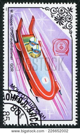 Mongolia-circa 1985: A Stamp Printed In The Mongolia, Is Devoted To The Winter Olympic Games Sarajev