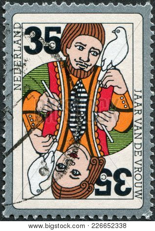 Netherlands - Circa 1975: A Stamp Printed In The Netherlands, Is Dedicated To International Women Ye