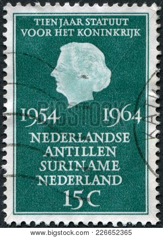 Netherlands - Circa 1964: A Stamp Printed In The Netherlands, Dedicated To 10th Anniversary Of The C