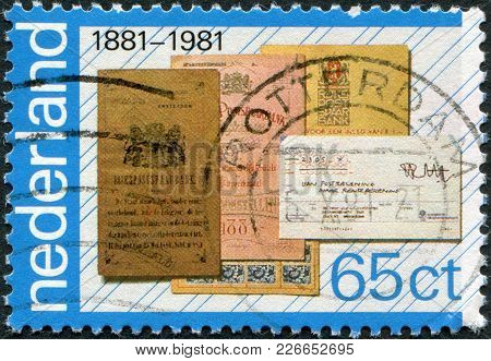 Netherlands - Circa 1981: A Stamp Printed In The Netherlands, Is Dedicated To The 100th Anniversary
