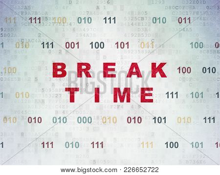 Time Concept: Painted Red Text Break Time On Digital Data Paper Background With Binary Code