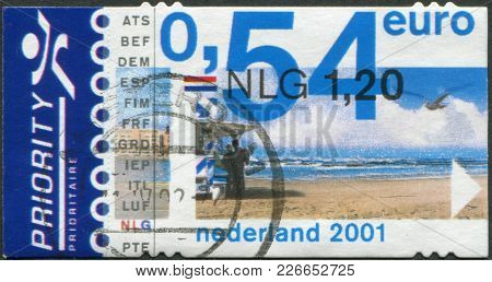 Netherlands - Circa 2001: A Stamp Printed In The Netherlands, Shows A Coast At Zandvoort, Circa 2001