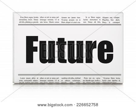 Time Concept: Newspaper Headline Future On White Background, 3d Rendering