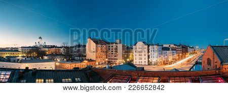 Helsinki, Finland. Panoramic View Of Helsinki Cathedral, Pohjoisranta Street And Redone Old Building