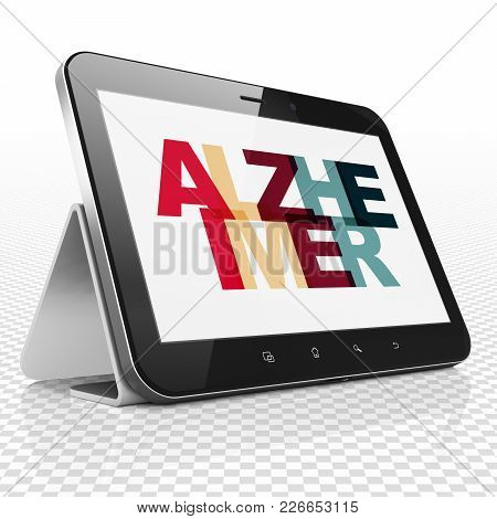 Healthcare Concept: Tablet Computer With Painted Multicolor Text Alzheimer On Display, 3d Rendering