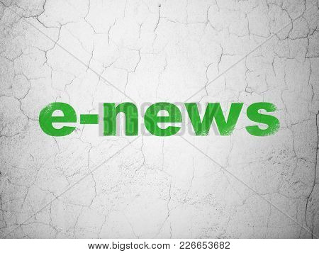 News Concept: Green E-news On Textured Concrete Wall Background