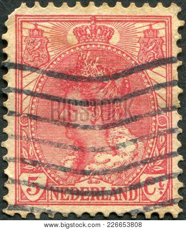 Netherlands - Circa 1899: A Stamp Printed In The Netherlands, Shows Wilhelmina Of The Netherlands, C