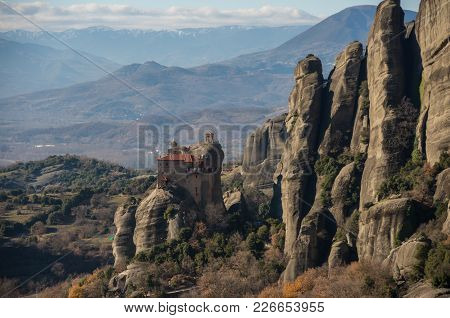 Monastery Of St. Nicholas At Meteora. Meteora Is One Of The Largest Built Complexes Of Eastern Ortho