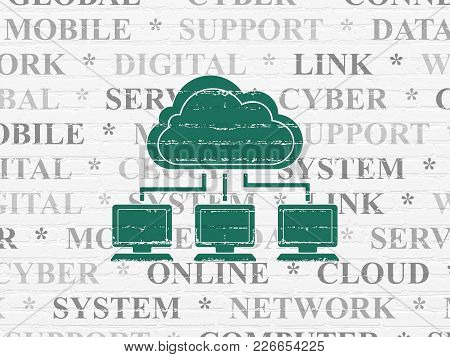 Cloud Technology Concept: Painted Green Cloud Network Icon On White Brick Wall Background With  Tag