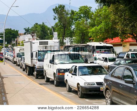 Oaxaca, Mexico - May 25, 2017: Huge Traffic Jam In The City Center.