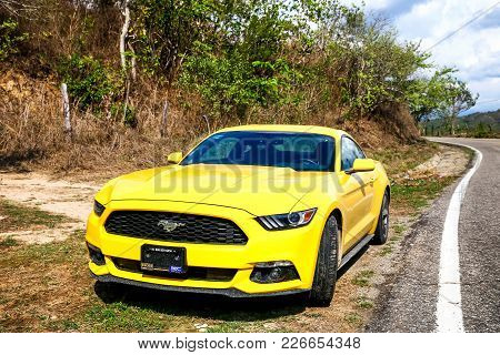 Guerrero, Mexico - May 27, 2017: Sports Car Ford Mustang At The Countryside.