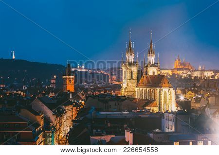 Prague, Czech Republic. Evening Cityscape Of Old Center. Famous Old Town Hall, Church Of Our Lady Be
