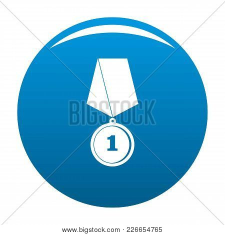Medal Icon Vector Blue Circle Isolated On White Background