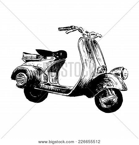 Vintage Motor Scooter. Vector Illustration, Hand Graphics - Old Turquoise Scooter. Italian Symbol. H