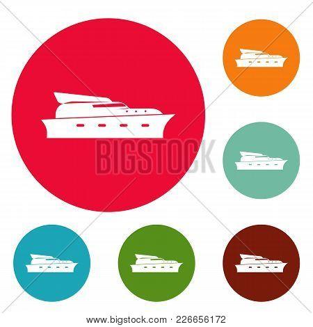 Yacht Icons Circle Set Vector Isolated On White Background