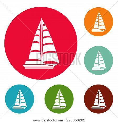 Yacht Modern Icons Circle Set Vector Isolated On White Background