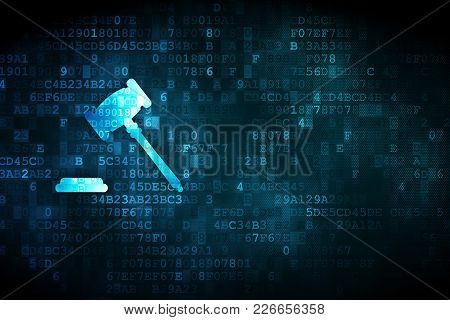 Law Concept: Pixelated Gavel Icon On Digital Background, Empty Copyspace For Card, Text, Advertising