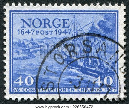 Norway - Circa 1947: A Stamp Printed In The Norway, Shows A Mail Ship