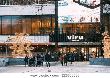 Tallinn, Estonia - December 3, 2016: People Going Shopping In Shopping Center Viru Keskus In Winter