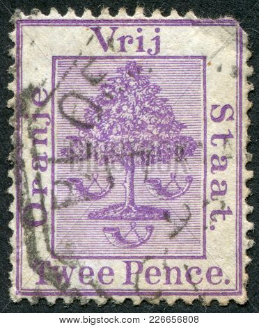 Orange Free State - Circa 1883: A Stamp Printed In The Orange Free State (south Africa), Coat Of Arm