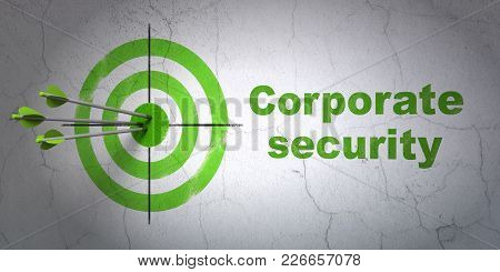 Success Safety Concept: Arrows Hitting The Center Of Target, Green Corporate Security On Wall Backgr
