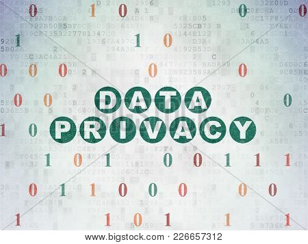 Privacy Concept: Painted Green Text Data Privacy On Digital Data Paper Background With Binary Code