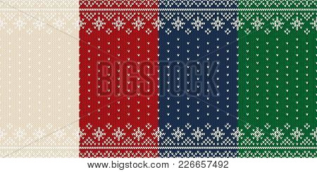 Set Of 4 Traditional Fair Isle Style Seamless Knitted Patterns With Snowflakes. Collection Of Christ