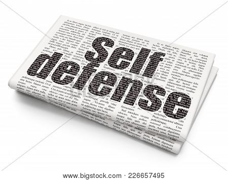 Protection Concept: Pixelated Black Text Self Defense On Newspaper Background, 3d Rendering