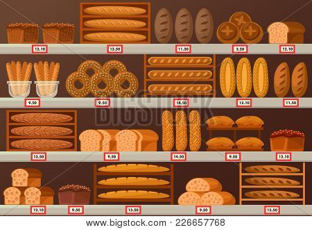 Stall Or Stand At Baker Shop Or Store. Showcase Of Bread And Labels Or Stickers With Prices. Sliced
