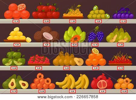 Fruit Market Stand Or Bazaar Stall With Price Labels. Nectarine And Pomegranate, Myrobalan Or Cherry