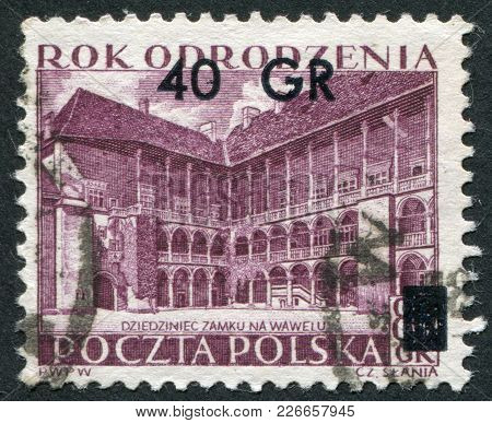 Poland - Circa 1953: A Stamp Printed In The Poland, Shows The Inner Courtyard Of The Palace Wawel, K
