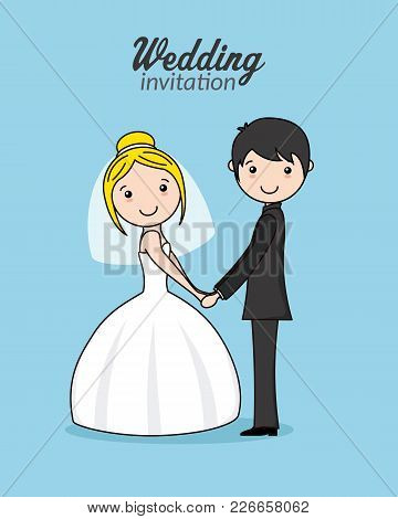 Beautiful Couple Of Newlyweds Holding Hands. Isolated Vector
