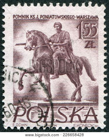 Poland - Circa 1956: A Stamp Printed In The Poland, The Monument Depicts Jozef Poniatowski, The Scul
