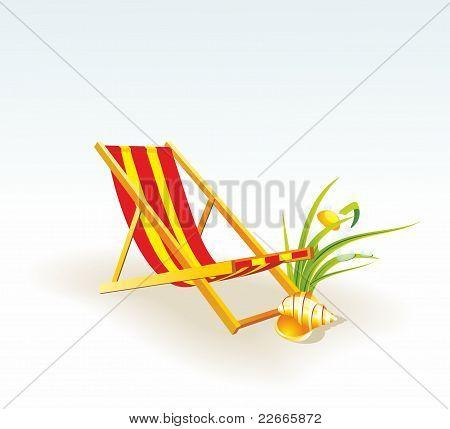 beach chair with cockleshel.